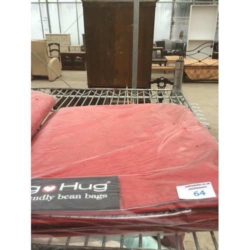 64 - A BIG HUG 'LONDON' BEAN BAG IN RED , 140CM X 18OCM, HEAVY DUTY POLYESTER, STAIN AND WATER RESISTANT ...