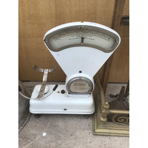 8 - A SET OF AVERY SOLE AGENTS SOUTH AFRICAN SCALE CO LTD SCALES (NO TRAY AND DAMAGE TO GLASS) AND A LAR...