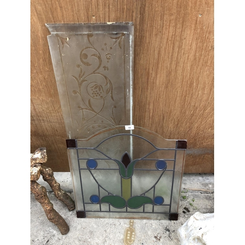18 - A LEADED GLASS PANEL AND FURTHER ETCHED EXAMPLE (2)...
