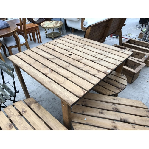 39 - A SQUARE TOPPED WOODEN GARDEN TABLE...