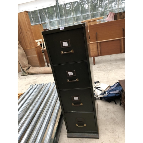45 - A GREEN METAL VINTAGE FOUR DRAWER FILING CABINET...