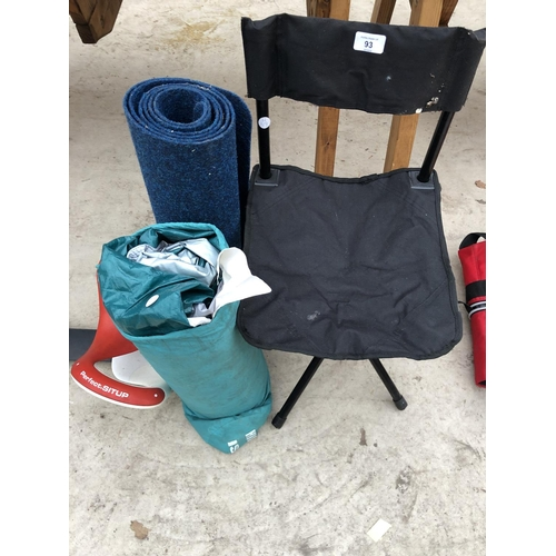 93 - MIXED ITEMS - SIT UP MACHINE, 1 MAN TENT, CHAIR ETC...