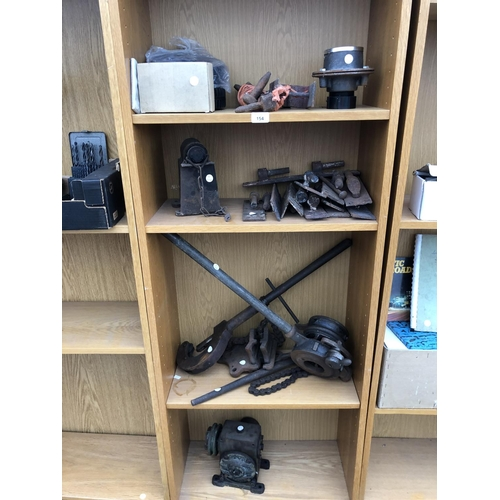 154 - A LARGE MIXED LOT OF TOOLS - PIPE BENDER, CLAMPS ETC...