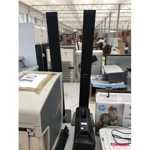334 - A PAIR OF PANASONIC TALL SPEAKERS AND A FURTHER SPEAKER...