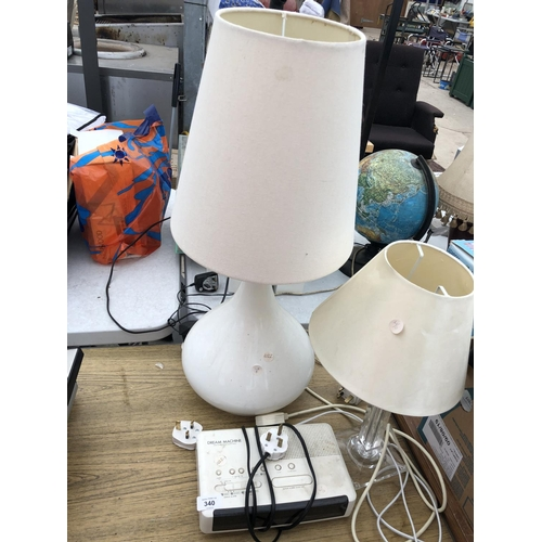 340 - TWO LAMPS AND SHADES IN WORKING ORDER TOGETHER WITH DREAM MACHINE...