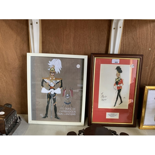 406 - A DRAWING OF THE SCARLET LANCS AND FURTHER PICTURE OF 17TH DUKE OF CAMBRIDGES OWN LANCERS...