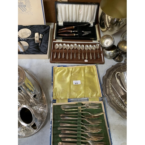 415 - THREE BOXES OF FLATWARE TO INCLUDE A SET OF SCOTTISH SILVER PLATED SPOONS, HORN HANDLED CUTLERY ETC...
