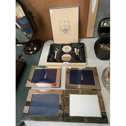 418 - FOUR MANCHESTER CITY FOOTBALL CLUB PHOTO FRAMES AND BOXED BOTTLE OPENER SET...