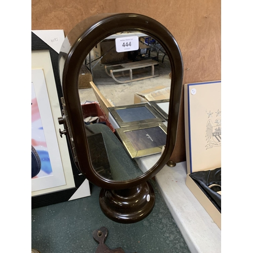 444 - A RETRO ROTATING DOUBLE SIDED MIRROR, OPENS INTO A JEWELLERY BOX...