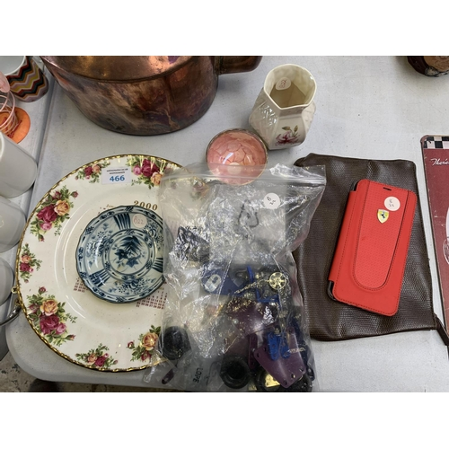 466 - MIXED ITEMS - MECCANO, A OLD COUNTRY ROSES CALENDAR PLATE, TOGETHER WITH AN ORIENTAL BOWL, A MAVIS B...