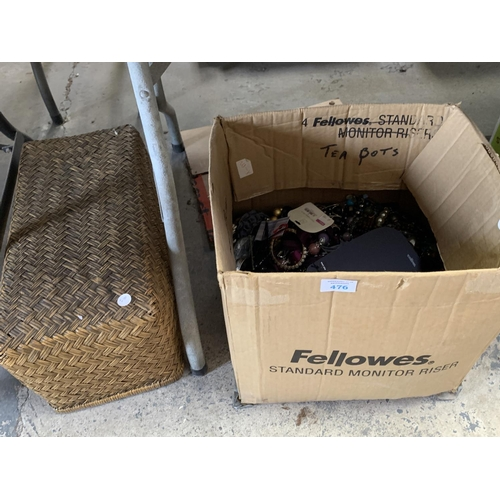 476 - A LARGE CARDBOARD BOX OF COSTUME JEWELLERY WITH WICKER BASKET...