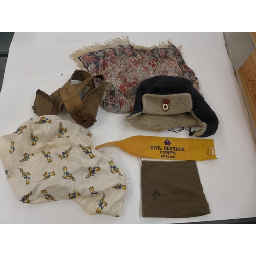 600 - A RUSSIAN HAT WITH ENAMEL BADGE , CIVIL DEFENCE CORPS ARM BAND AND MILITARY HEADSCARF ETC...