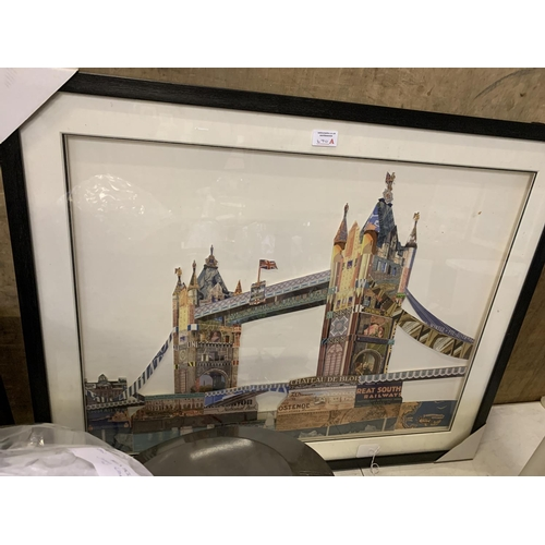670A - A FRAMED PICTURE OF A TOWER OF LONDON COLLAGE...