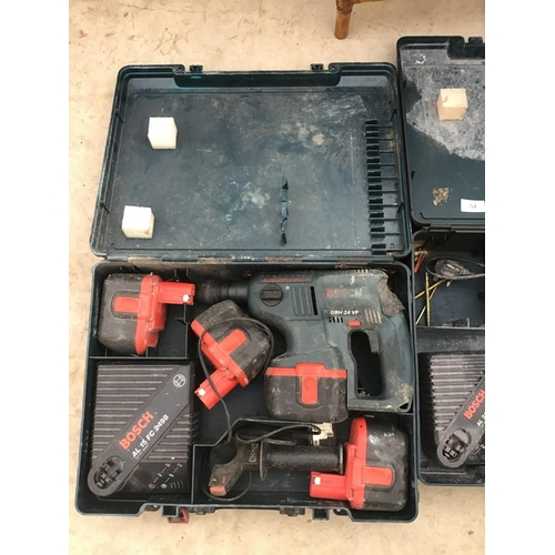 54 - TWO CASED BOSCH DRILLS WITH BATTERIES AND CHARGERS ONE DRILL IN WORKING ORDER...
