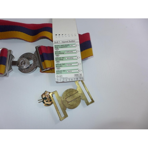 305 - A ROYAL MEDICAL CORPS BELT AND BUCKLE, KINGS REGIMENT BUCKLE ETC...