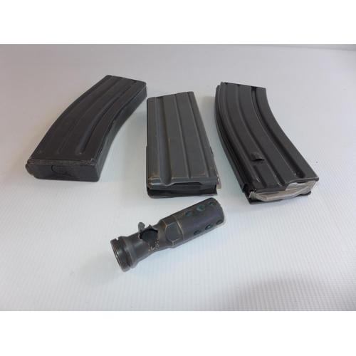 315 - THREE MAGAZINES AND A BULLET DAMAGED GUN MUZZLE...