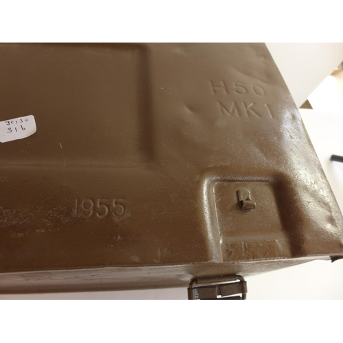316 - A 1955 MILITARY AMMUNITION BOX...
