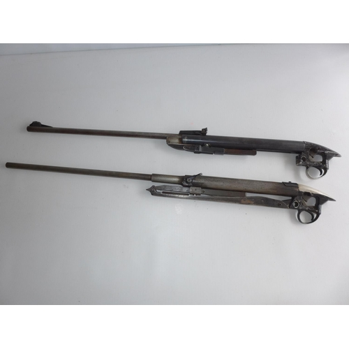 335 - THE BARRELS AND ACTIONS OF TWO B.S.A. .22 CALIBRE AIR RIFLES AIRSPORTER AND MERCURY MODELS...