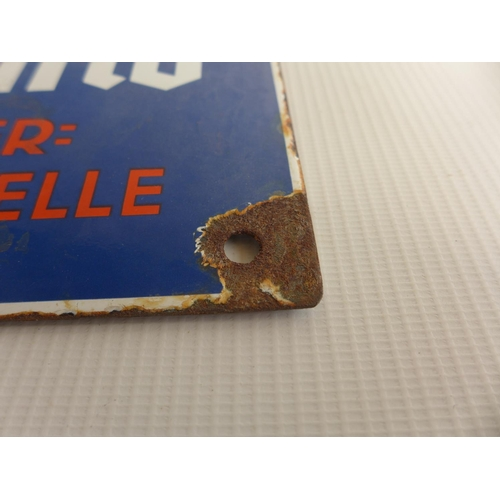 370 - AN ENAMEL SIGN WITH SWASTIKA DECORATION, 30cm x 20cm...