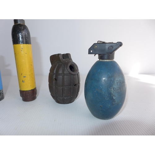 382 - A COLLECTION OF INERT GRENADES ETC, TO INCLUDE MILLS, FLASH BANG, CHORLEYS ETC...