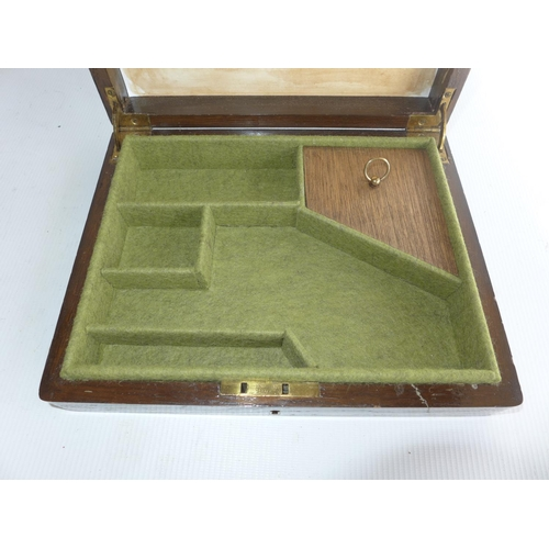 389 - AN OAK CASE FITTED OUT FOR A PISTOL, 24x20cm...
