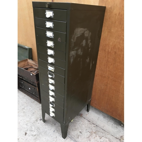 1003 - A VINTAGE FIFTEEN DRAWER MINIATURE FILING CABINET...