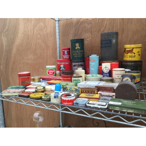 1020A - A LARGE QUANTITY OF ORIGINAL VINTAGE TINS TO INCLUDE BABY FOOD AND MEDICINE ETC...