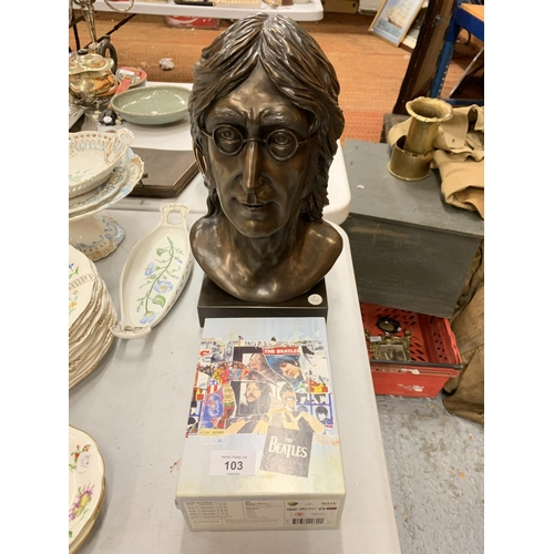103 - A COLD CAST BRONZE SIGNED JOHN LENNON BUST  E D GREENWOOD 1990 0793/049 AND THE BEATLES FIVE CD ANTH...
