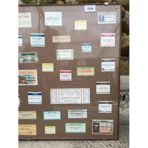 1036 - A FRAMED COLLECTION OF ITALIAN LABELS...