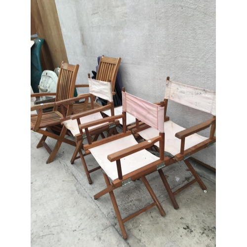 1044 - VARIOUS CHAIRS TO INCLUDE DIRECTORS, TEAK GARDEN CHAIRS ETC...