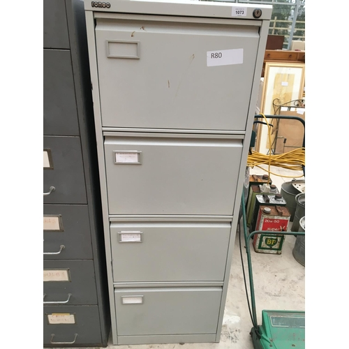 1073 - A RONEO FOUR DRAWER METAL FILING CABINET...