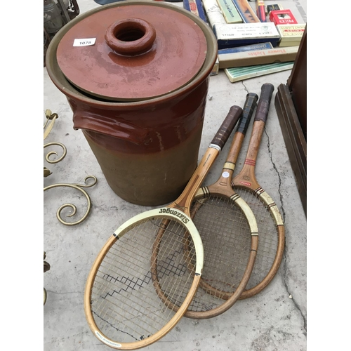 1078 - A LARGE LIDDED STONEWARE VESSEL AND THREE VINTAGE TENNIS RACKETS...
