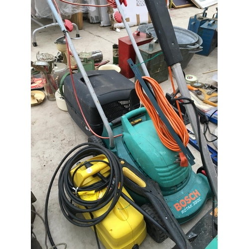 1084 - THREE ITEMS TO INCLUDE A BOSCH LAWNMOWER, BLACK AND DECKER LAWNRAKER AND A PRESSURE WASHER...