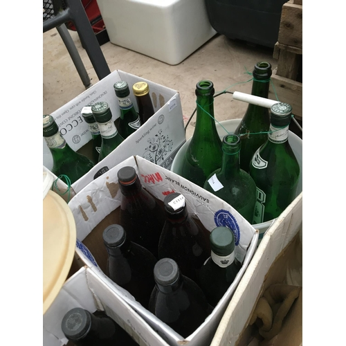 1090 - VARIOUS DEMI JOHNS AND GLASS BOTTLES ETC...