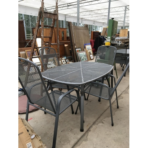 1093 - A METAL RECTANGULAR GARDEN TABLE WITH FOUR MATCHING CHAIRS...