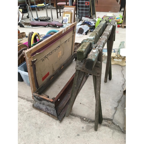 1095 - VARIOUS ITEMS TO INCLUDE WOODEN TRESTLES AND VARIOUS PICTURE FRAMES ETC...