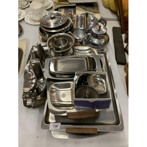 130 - A LARGE COLLECTION OF 1950s STAINLESS STEEL KITCHEN ITEMS...