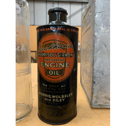33 - A RARE DUCKHAMS MORRISOL ENGINE OIL CAN...