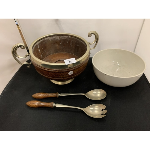 41 - A WOODEN AND SILVER PLATE SALAD BOWL WITH MATCHING SERVERS...