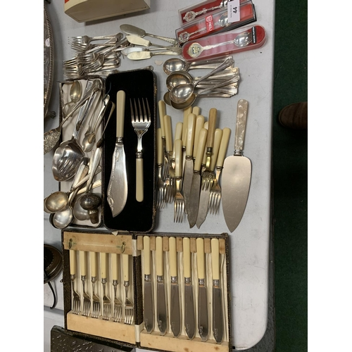 44 - A LARGE QUANTITY OF ASSORTED EPNS CUTLERY, SOME BOXED...