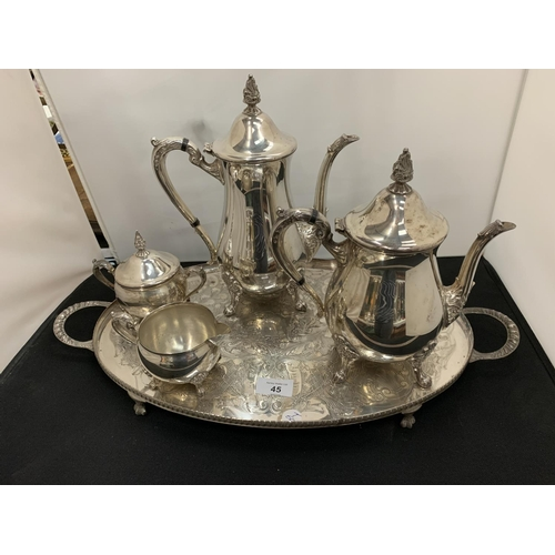 45 - A FOUR PIECE SILVER PLATED TEA AND COFFEE SET ON MATCHING TRAY...