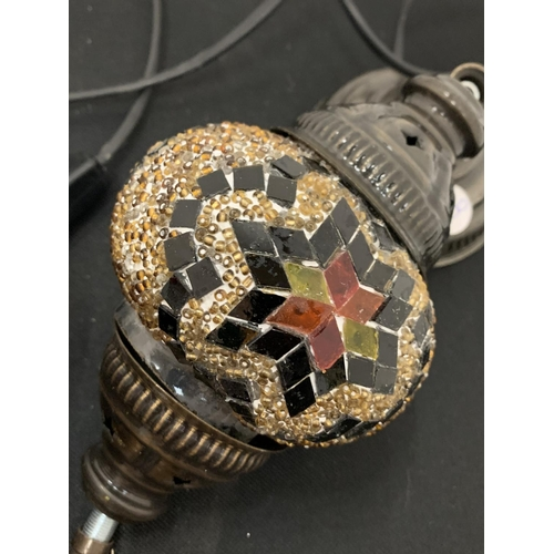 46 - A PAIR MOROCCAN STYLE MOSAIC CEILING LIGHTS...