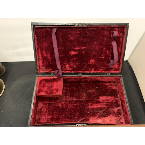 66 - A BLACK LACQUERED JEWELLERY BOX WITH GILT EDGES AND A MAHOGANY WOODEN WRING SLOPE...