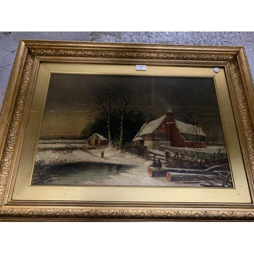 7 - A GILT FRAMED OIL ON CANVAS OF A WINTER COUNTRY SCENE WITH SHEEP SIGNED W B WEBB...