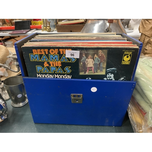 96 - A SELECTION OF ROCK AND POP LP'S TO INCLUDE RECORD CASE...