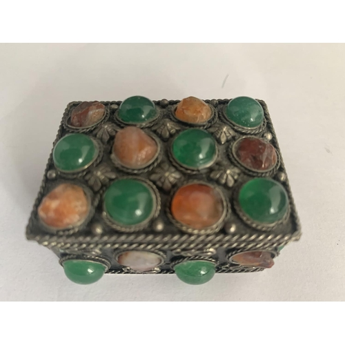 530 - A WHITE METAL AND STONES PILL BOX...