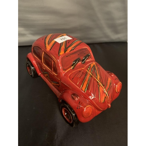 701 - A LARGE SIGNED ANITA HARRIS HAND PAINTED VW BEETLE...