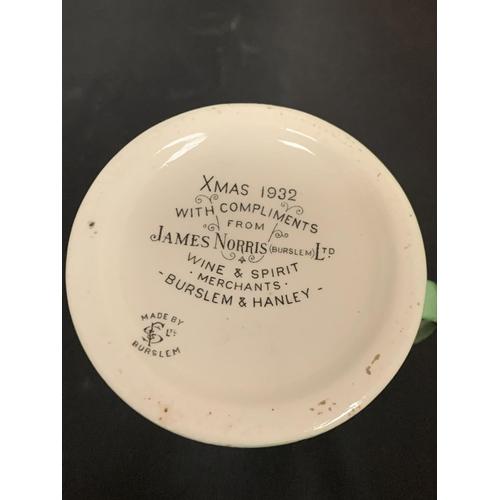 729 - AN 'XMAS 1932 JAMES NORRIS (BURSLEM) LTD WINE AND SPIRIT MERCHANTS WITH COMPLIMENTS' TANKARD...