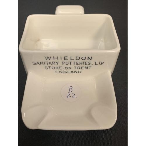 733 - A 'WHIELDON SANITARY POTTERIES LTD STOKE ON TRENT ENGLAND' ASHTRAY...