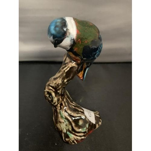 739 - A SIGNED ANITA HARRIS HAND PAINTED BIRD BLUE TIT...